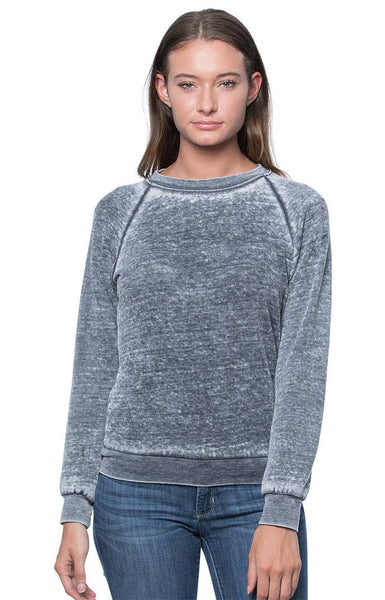 Women's Burnout Fleece Raglan Pullover Made in USA 3199BO