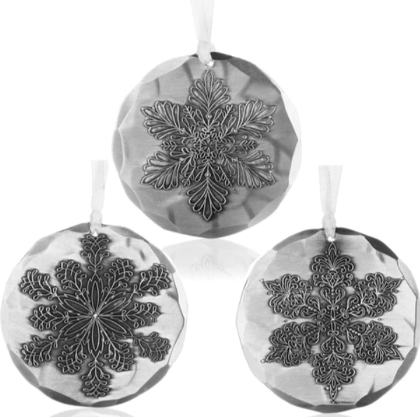 Snowflake 3-Piece Ornament Trio by Wendell August Made in USA  SFLAKESET