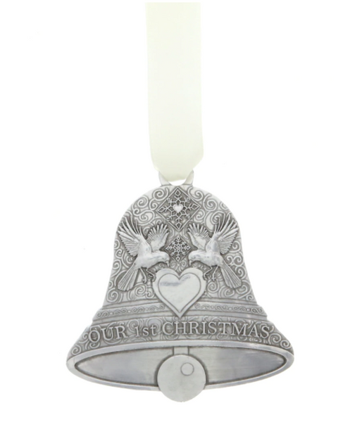 "Our First Christmas Wedding Bell Ornament by Wendell August Made in USA Material: Aluminum Dimensions: 3"" x 3"" SKU: 11984443"