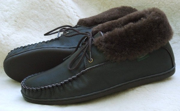 Men's 2-Eyelet Sheepskin Slippers American Made by Footskins 4410-MS