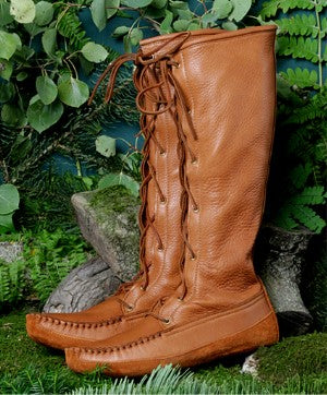 Men's Knee High Deertan Boots Made in US by Footskin 4740