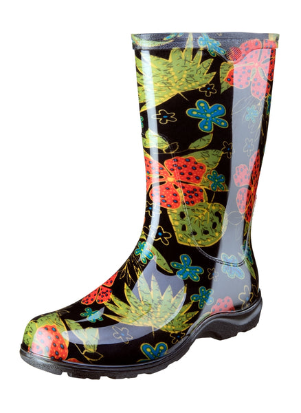 Women's Printed Rain and Garden Midsummer Black Boots by Sloggers USA Made