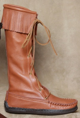 Knee High Boot with Fringe and Rubber Sole Made in America by Footskins