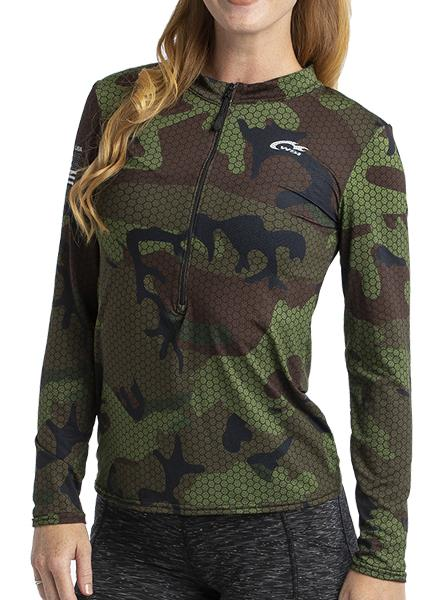 HYPRTECH™ BAMBOO Hexacamo Olive Camouflage 1/2 Zip Long Sleeve by WSI Made in USA 704WLBS