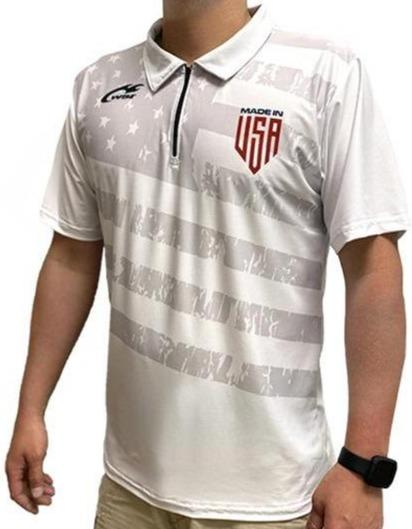 USA Mesh 1/4 Zip Polo Short Shirt Made in USA