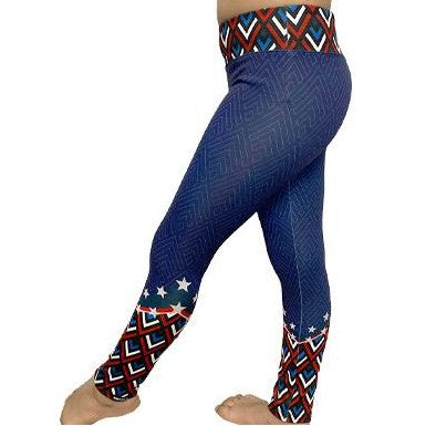 Kid's Americana Chevron Freedom Leggings Legging by WSI Made in USA 962SPLP