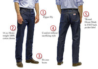Men's 5 Pocket Slim Fit Cowboy Jeans #1951 USA Made by ROUND HOUSE®