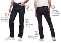 #182 Men's Slim Fit Jeans USA Made by ROUND HOUSE®
