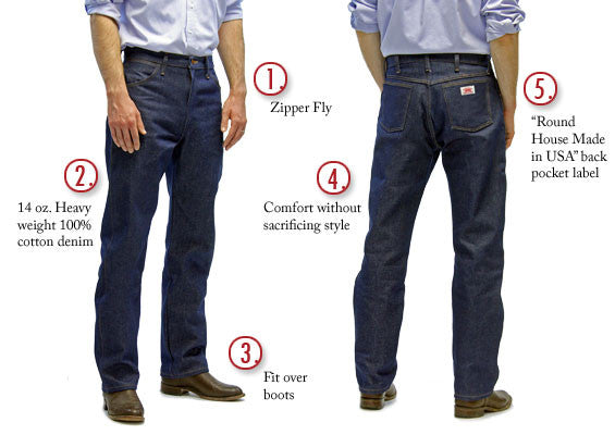 #1903 Men's 5 Pocket Original Fit Cowboy Jeans USA Made by ROUND HOUSE®