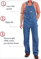 Men's Stonewashed Blues Overall by ROUND HOUSE® American-Made 699
