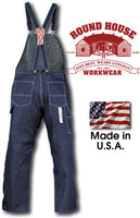 Low-Back Blue Denim Bib Overall by ROUND HOUSE® American-Made 907