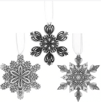 Winter Wonders Snowflake 3-Piece Ornament Set by Wendell August Made in USA OFSNOWS3
