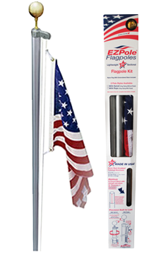 Classic EZPOLE® Flag Pole with 3x5 Sewn Nylon Flag USA Made by EZPole