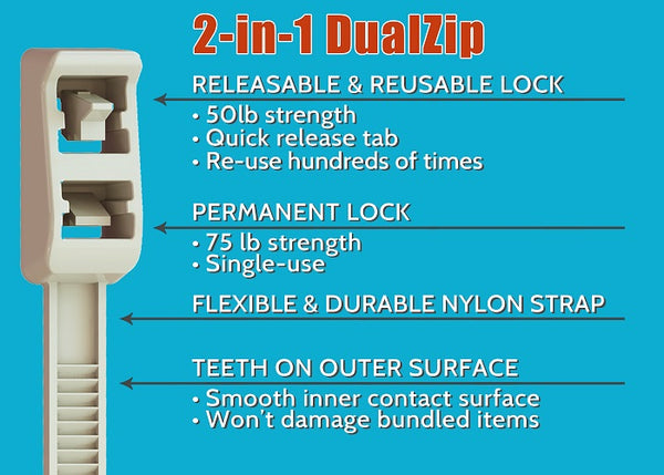 "DualZip Cable Tie 8"" 24pk USA Made by Micro Plastics Inc"