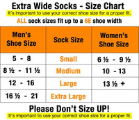6-Pack Extra Wide Athletic Crew Socks Made in USA