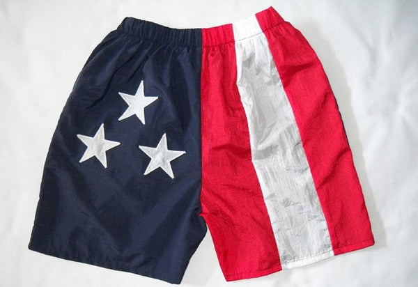 Unisex American Flag Color Blocking Nylon Walking Shorts by Stately Made in USA flagwalkingshorts