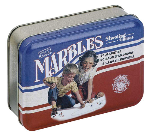 Marbles in a Classic Toy Tin Made in USA