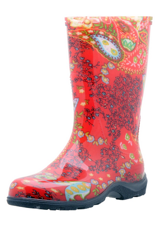 Women's Printed Rain and Garden Paisley Red Boots by Sloggers USA Made