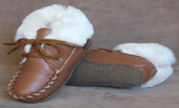 Children's 2-Eyelet Sheepskin Slippers by Footskins Made in USA 3310-NCS
