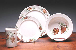 Pinecone Dinner Set Made in America by Emerson Creek Pottery