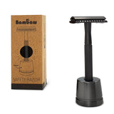 Metal Safety Razor -Black With Stand