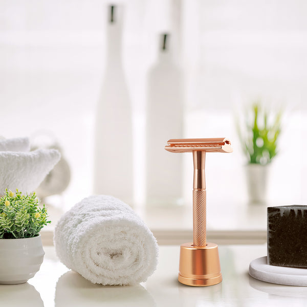 Metal Safety Razor -Rose Gold with Stand
