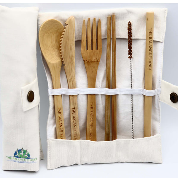 Eco Travel Bamboo Cutlery Set with Pouch