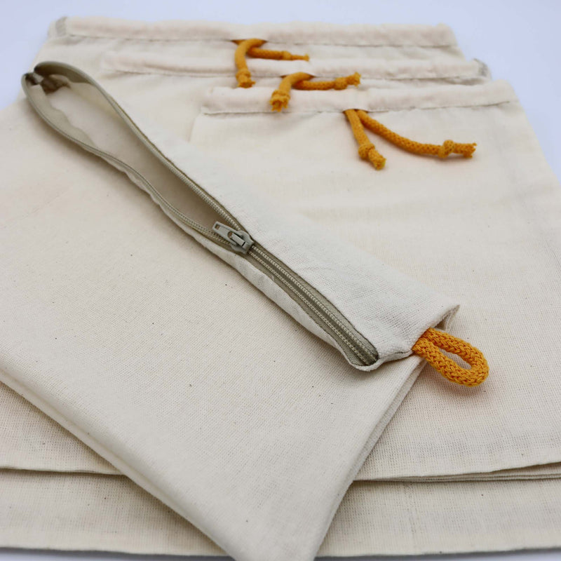 Handmade Organic Cotton Produce Bags Set of 3 with Zip Pouch Zero Waste Shopping