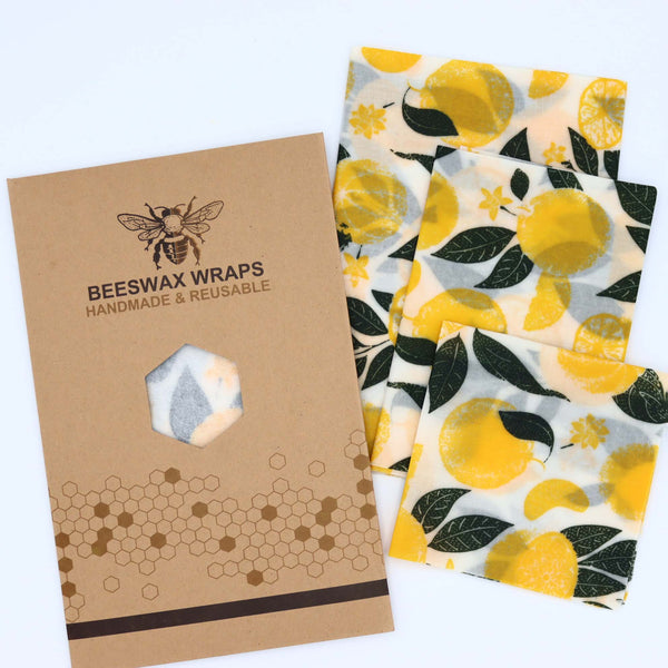 Beeswax food wraps Pack of 3- Lemons
