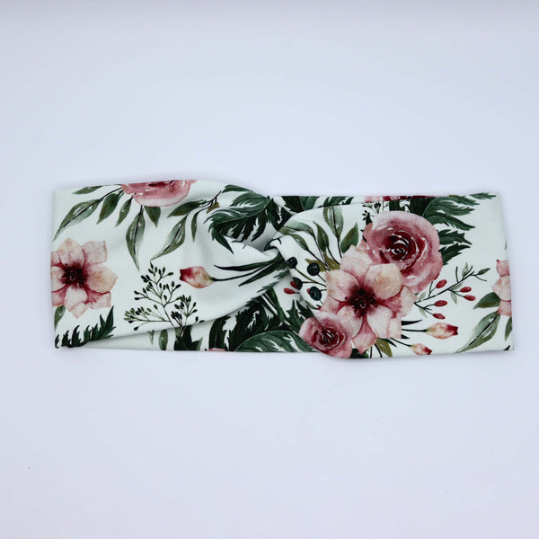 Cotton Women Headband Hair Band Twist Stretchy - Roses