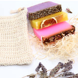 Handmade Soap Box- 3 Soaps & Jute Soap Bag