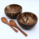 Natural Coconut Bowls Set of 2 with Spoons Handmade  Coco Shell Smoothie Bowl