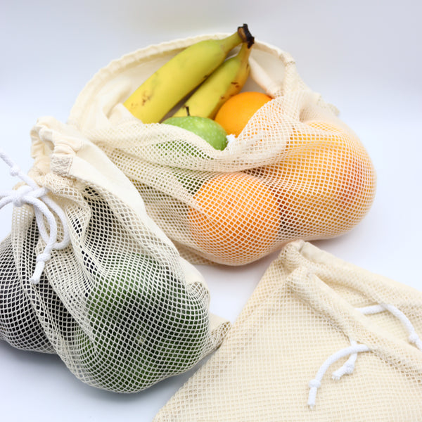 Handmade Organic Cotton Produce Bags Set of 4