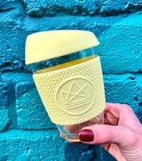 Neon Kactus - Reusable Glass Coffee Cup - Yellow