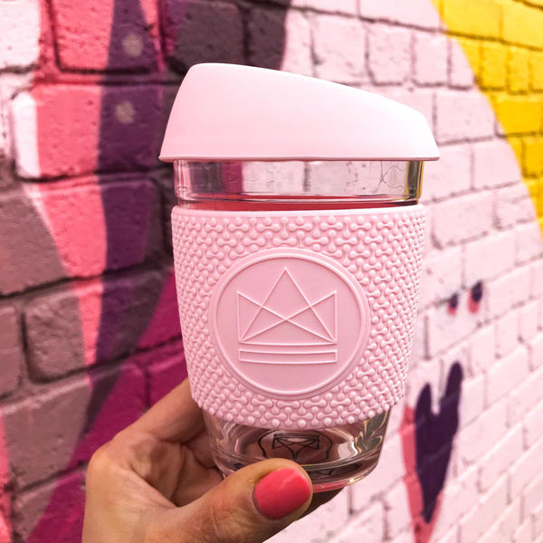 Neon Kactus - Reusable Glass Coffee Cup - Pink