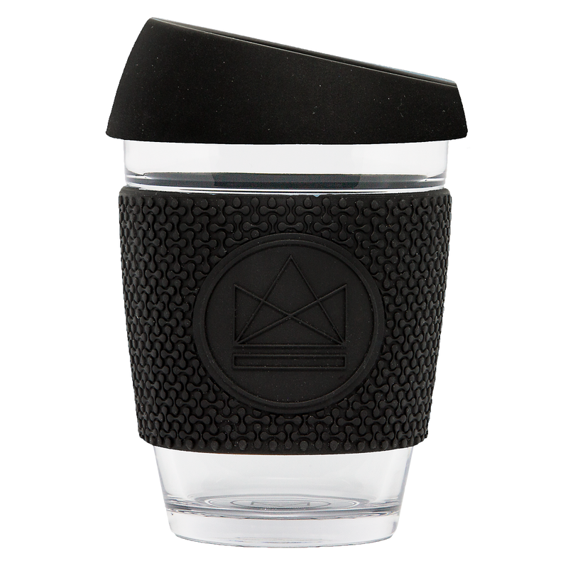 Neon Kactus - Reusable Glass Coffee Cup - Black