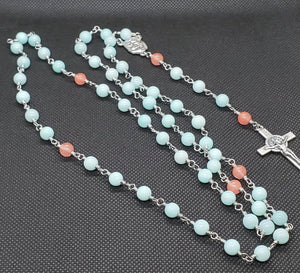 R0006 - Small Mint and Peach Rosary