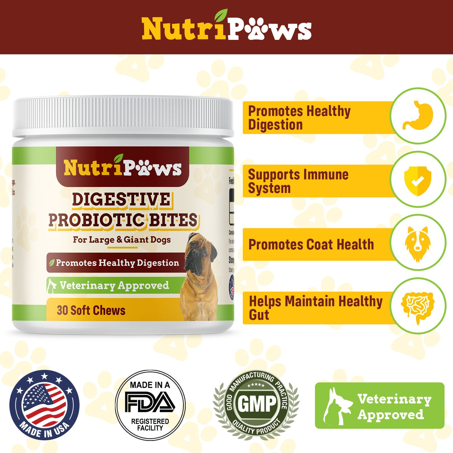 NutriPaws Digestive Probiotic Bites (Large/Giant Dogs)