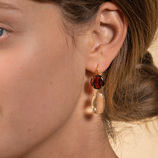 DOUBLE GARNET AND CITRIN EARRINGS
