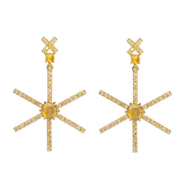 18K star shaped Eardrops with diamonds and citrine by JULI KA fine arts jewelry