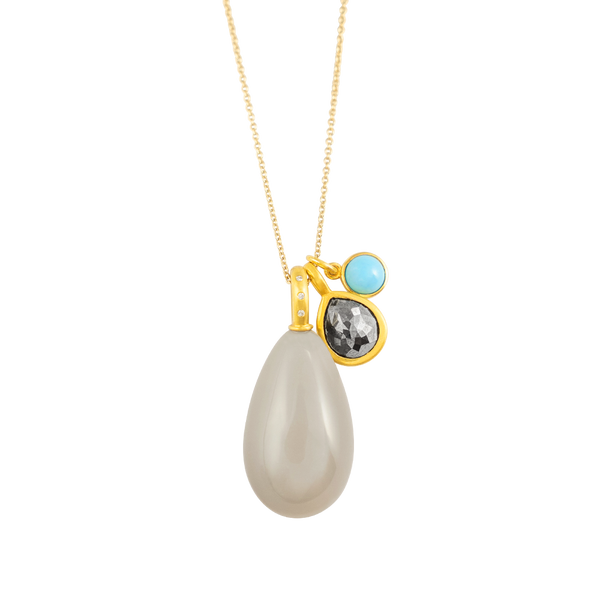 pearshaped diamond pendant gold by JULI KA fine arts jewelry