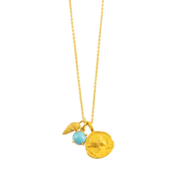 Turquoise pendant gold by JULI KA fine arts jewelry