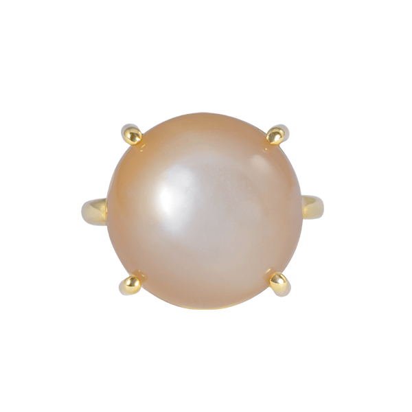 LIGHT BROWN MOONSTONE CROWN RING 18K YELLOW GOLD