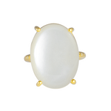 CASHMERE WHITE OVAL MOONSTONE CROWN RING 18K YELLOW GOLD