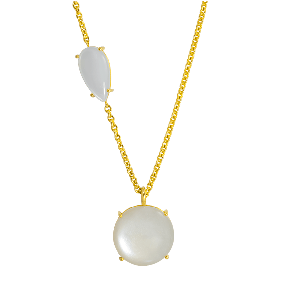 Moonstone necklace 18K Yellow Gold by JULI KA fine arts jewelry