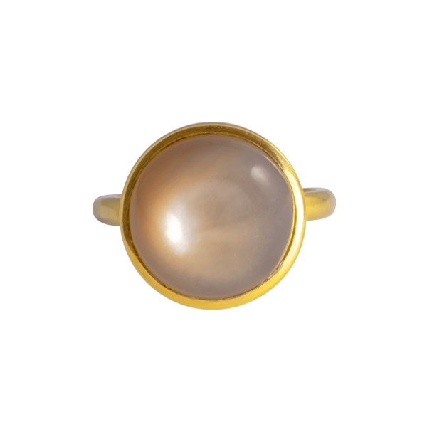 CASHMERE SHINY BROWN MONDSTEIN RING IN 18K GELBGOLD