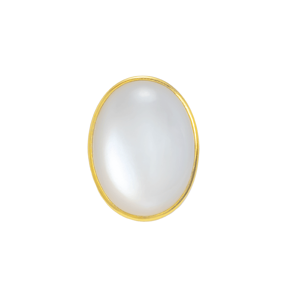 CASHMERE WHITE ROUND MOONSTONE CROWN RING 18K YELLOW GOLD