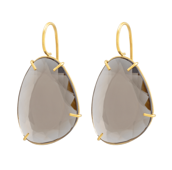 18 K Eardrops with smoky quartz by JULI KA fine arts jewelry