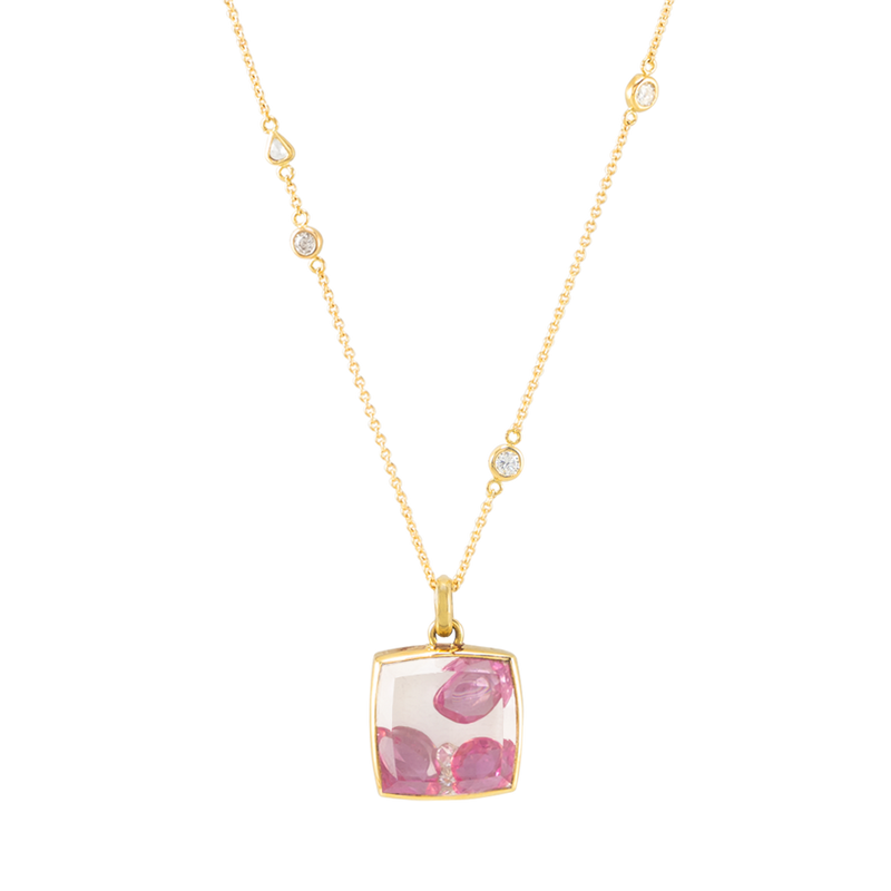 gold pendant crystal filled with pink sapphires by JULI KA fine arts jewelry