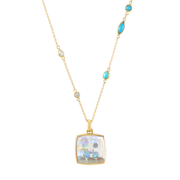 opal filled crystal gold pendant by JULI KA fine arts jewelry